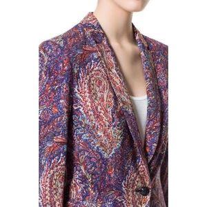 Zara Paisley Floral Print Lightweight Blazer MED